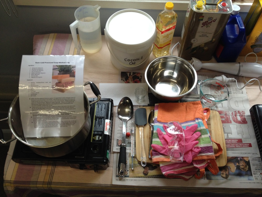 Beginners soap making course - student workstation