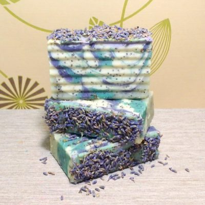Lavender flowers on soap bar
