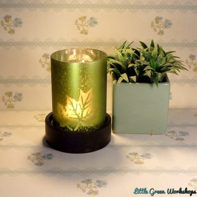 Frosted Leaf Design Tealight Holder with Wooden Base – Emerald
