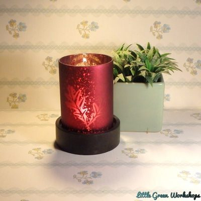 Frosted Leaf Design Tealight Holder with Wooden Base – Ruby