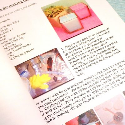 Glass Jar Soy Candle Kit Instruction booklet