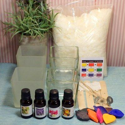 Glass Jar soy candle kit Medium