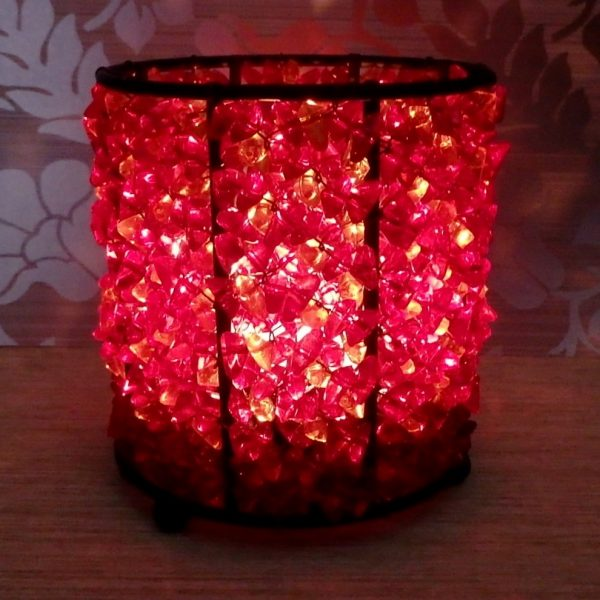 Beaded tealight holder glow