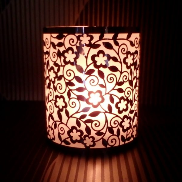 Frosted Flower Steel tealight holder glow
