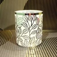 Frosted leaf steel tealight holder