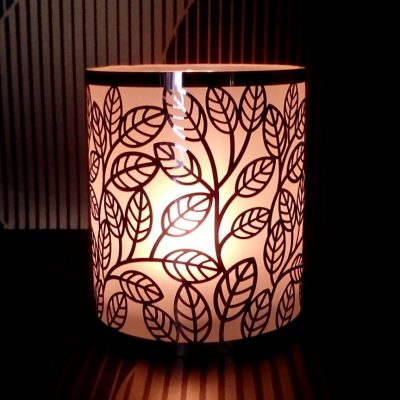 Frosted leaf steel tealight holder glow