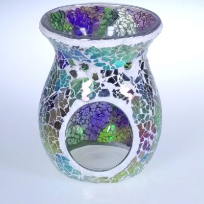 Soft Green and Purple Crackle Oil Burner