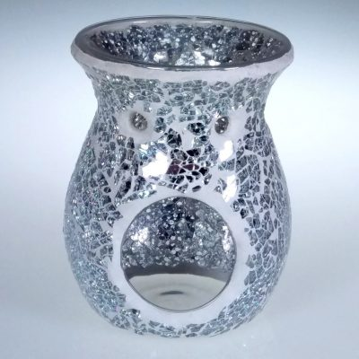 Silver Mirror Crackle Oil Burner