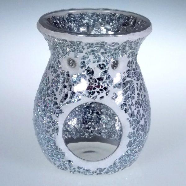 Silver Mirror Crackle Oil Burner