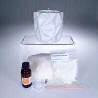 Ceramic Geometric White Jar Soy Candle Kit