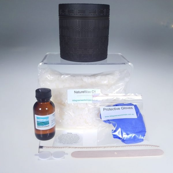 Black Glass Canister Soy Candle Kit