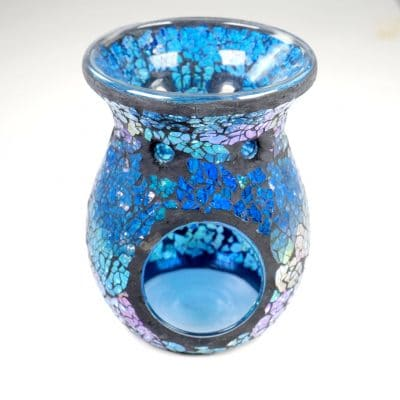 Blue Silver Crackle Oil Burner