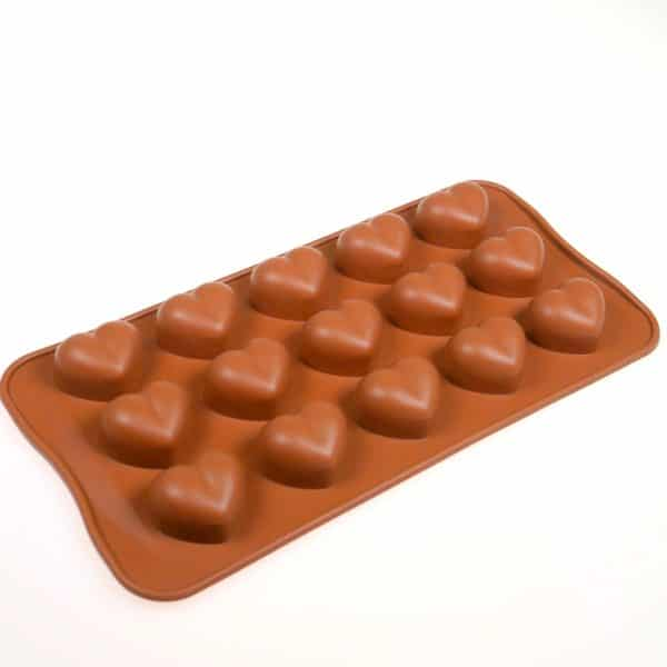 Chunky small 15 hearts silicone mould