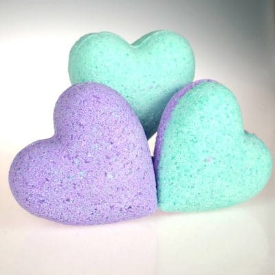 Heart Bathbombs made with Glitter Heart Bath Bomb Kit
